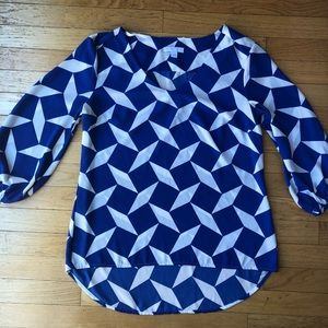 NY&C Blue and White Work Wear Blouse Top
